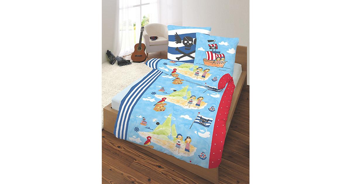 Kinderbettwäsche Pirateninsel, Biber, 135 x 200 cm blau | Kinderzimmer > Textilien für Kinder > Kinderbettwäsche | Blau | Biber - Baumwolle