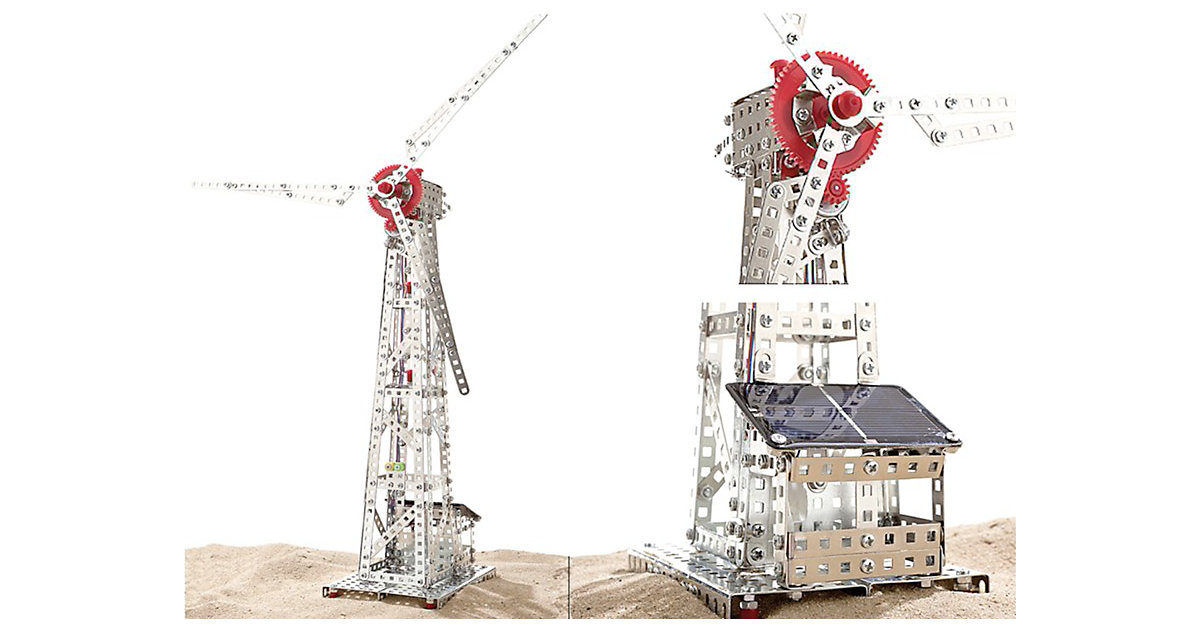 Metallbaukasten Windrad mit Solarzelle