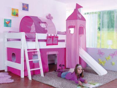 Spielbett  Spielbett Manuel, Kiefer massiv weiß, rosa-pink, 90 x 200 cm ...