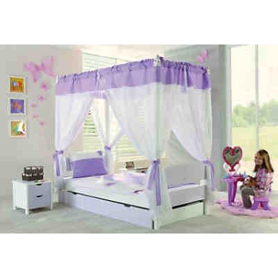 himmelbett stella mit stoffset buche massiv lila wei 90 x 200 cm relita mytoys. Black Bedroom Furniture Sets. Home Design Ideas