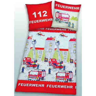 kinderbettw sche feuerwehr linon 135 x 200 cm herding mytoys. Black Bedroom Furniture Sets. Home Design Ideas