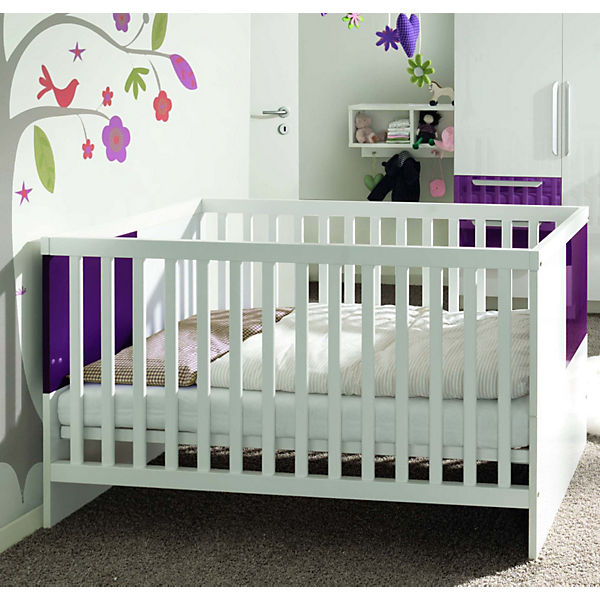 kinderbett milla wei lila hochglanz 70 x 140 cm wellem bel mytoys. Black Bedroom Furniture Sets. Home Design Ideas