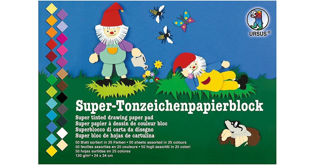 Tonzeichenpapier 24 x 34 cm, 130 g/qm, 50 Blatt in 25 Farben