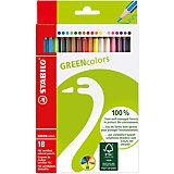 Набор цветных карандашей, 18 цв., GREEN COLOURS