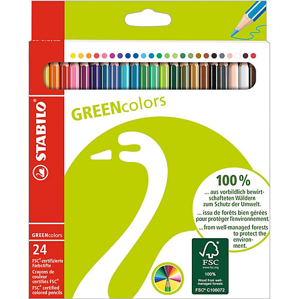 GREENcolors Buntstifte, 24 Farben