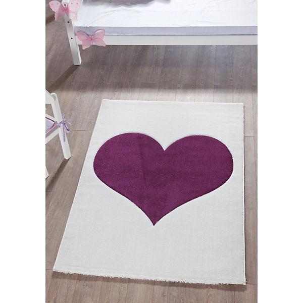 Kinderteppich Herz weiß lila 170 x 120 cm Relita