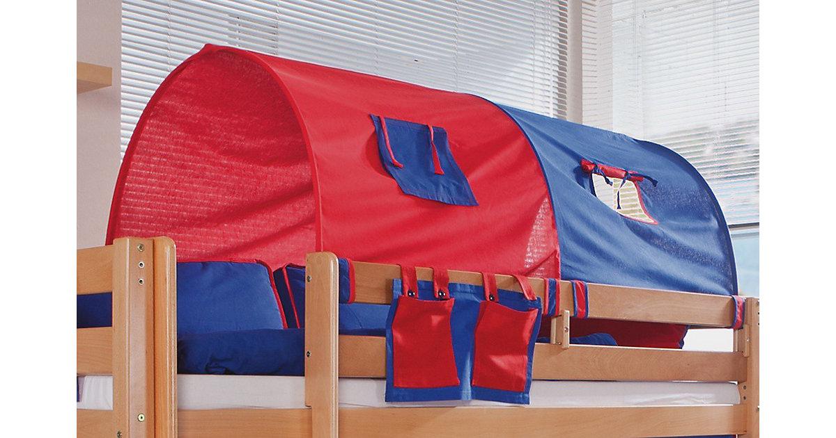 Image of 2er Tunnel Hoch-und Etagenbetten, 150 cm, rot/blau Kinder