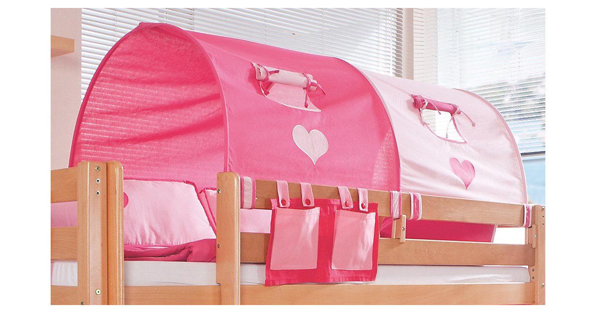 Image of 2er Tunnel Hoch-und Etagenbetten, 150 cm, pink/rosa Herz Kinder