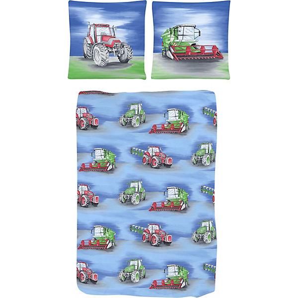 Kinderbettwäsche Traktor Renforcé Blau 135 X 200 Cm Mytoys