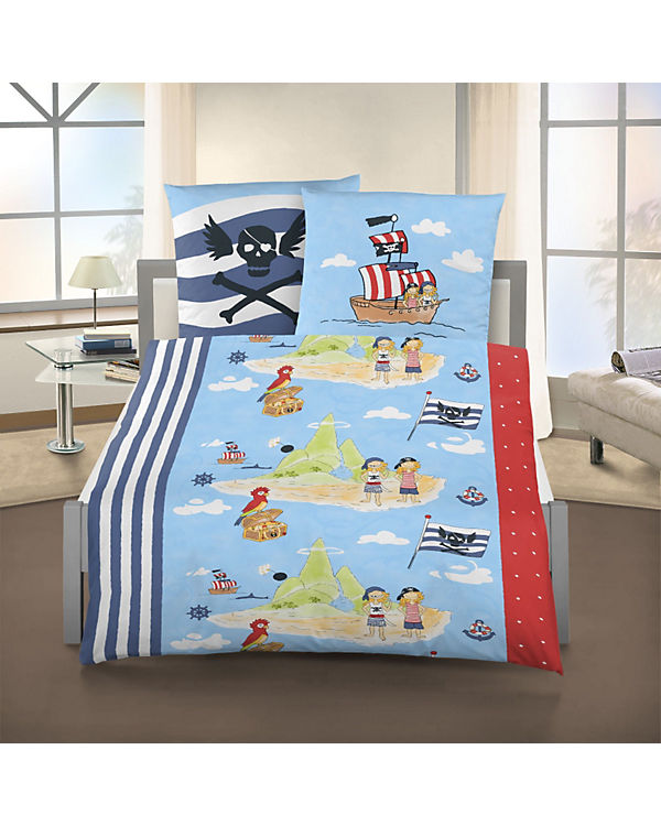 Kinderbettwäsche Pirateninsel Linon Marineblau 135 X 200 Cm Mytoys
