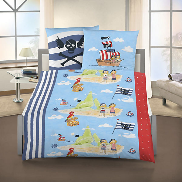 kinderbettw sche pirateninsel linon marineblau 135 x 200 cm mytoys. Black Bedroom Furniture Sets. Home Design Ideas