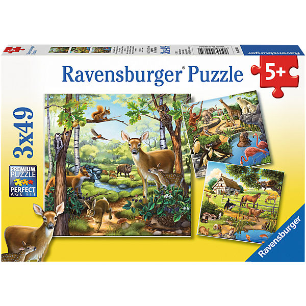 Puzzle Wald-/Zoo-/Haustiere 3x49 Teile