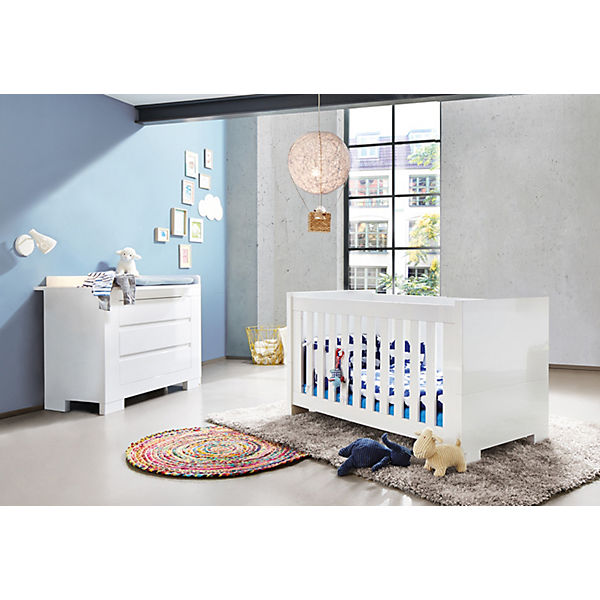 Sparset Sky Kinderbett Wickelkommode 2 Tlg Weißhochglanz