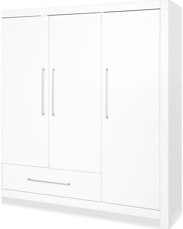 Kleiderschrank PURO groß, 3-türig, Fichte massiv/weiß lasiert ...