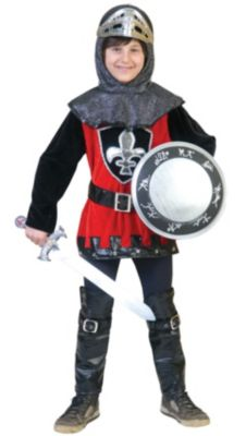 Kostüm schwarzroter Ritter Gr. 140 Jungen Kinder