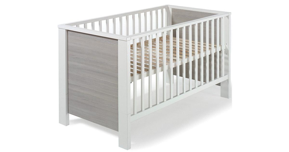 Kinderbett MILANO PINIE, Pinie silberfarbig/weiß, 70 x 140 cm grau