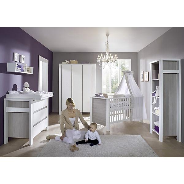 Komplett Kinderzimmer MILANO PINIE, 3-tlg. (Kinderbett + US, Wickelkommode  und 3-türiger Kleiderschrank), Pinie silberfarbig/weiß, Schardt