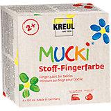 Набор пальчиковых красок по ткани Mucki (4 цвета), C. KREUL