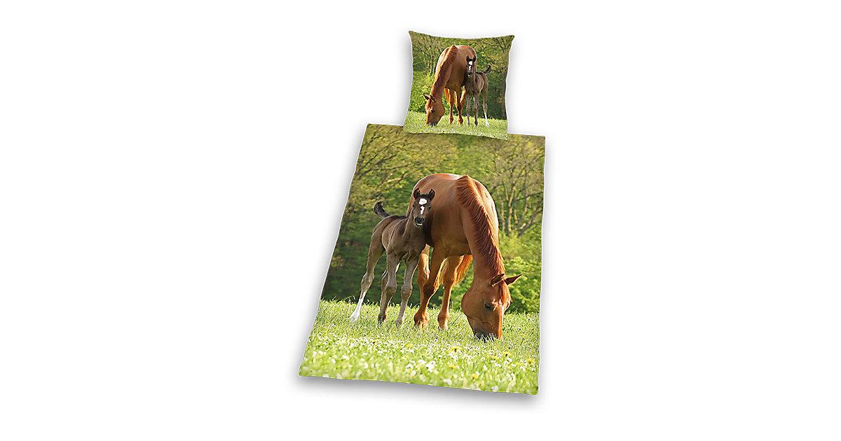 Pferdebettwäsche, Kinderbettwäsche Pferd mit Fohlen, Linon, 135 x 200 cm