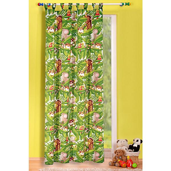 Vorhang dschungel gr n 245 x 135 cm 1 schal mytoys - Kinderzimmer gardinen dschungel ...
