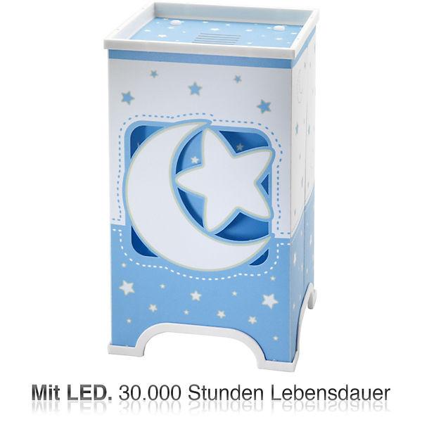 LED Nachttischlampe Mond & Sterne blau weiß Dalber