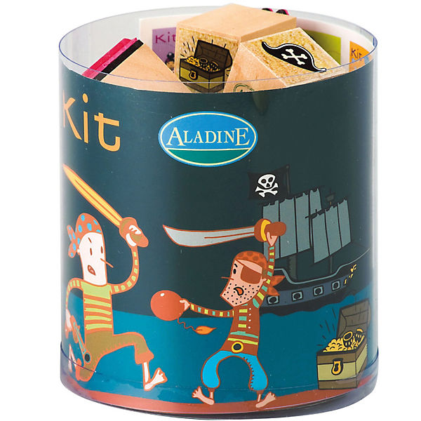 Aladine STAMPO'KIDS Mini-Stempelset Piraten, 16-tlg.