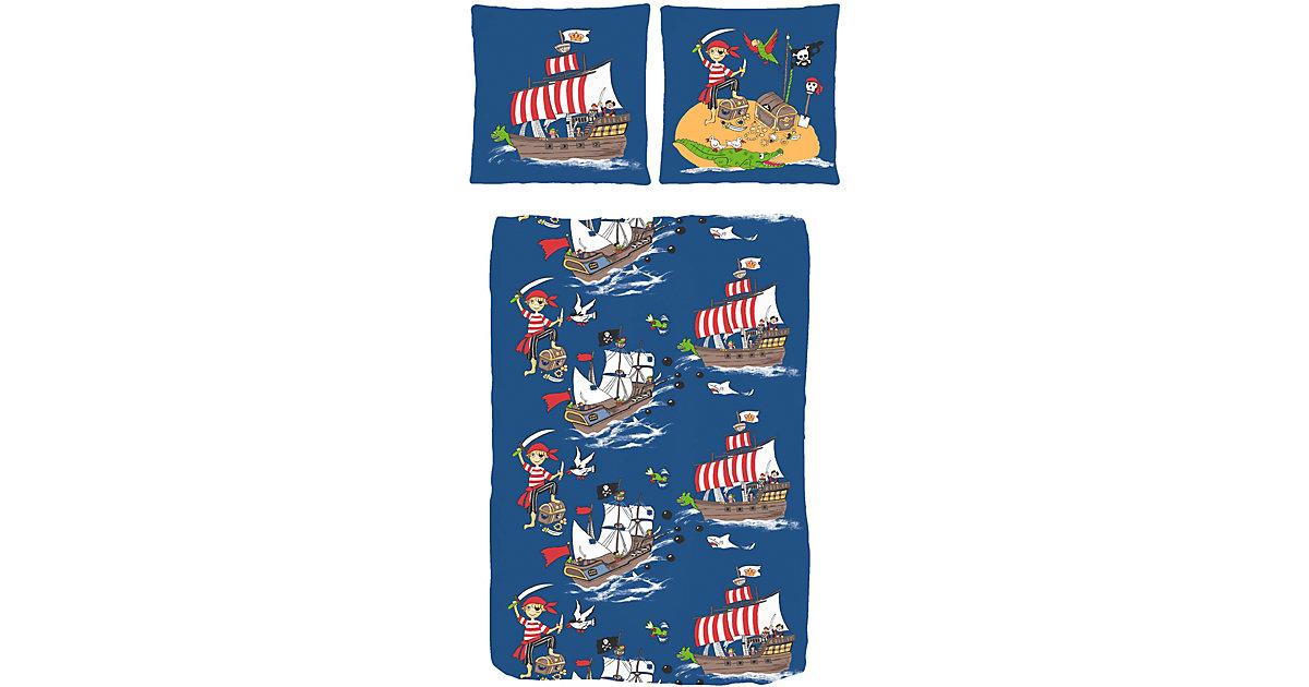 Kinderbettwäsche Pirat auf Schatzsuche, Linon, 135 x 200 cm blau | Kinderzimmer > Textilien für Kinder > Kinderbettwäsche | Dobnig