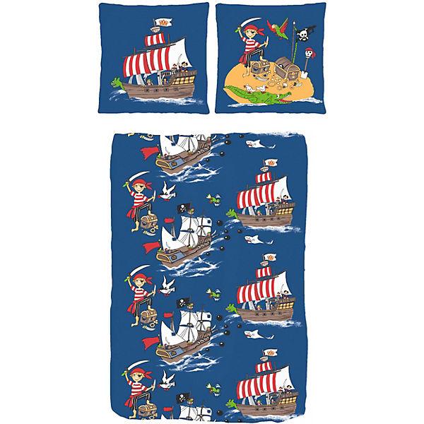 kinderbettw sche pirat auf schatzsuche linon 135 x 200 cm mytoys. Black Bedroom Furniture Sets. Home Design Ideas
