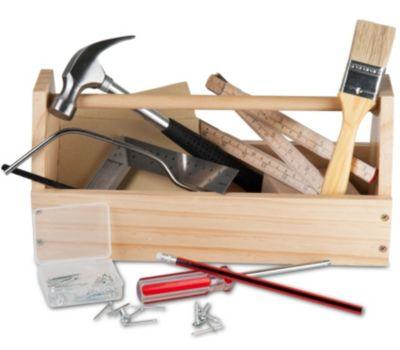 Holz-Werkzeugkasten mit Werkzeug