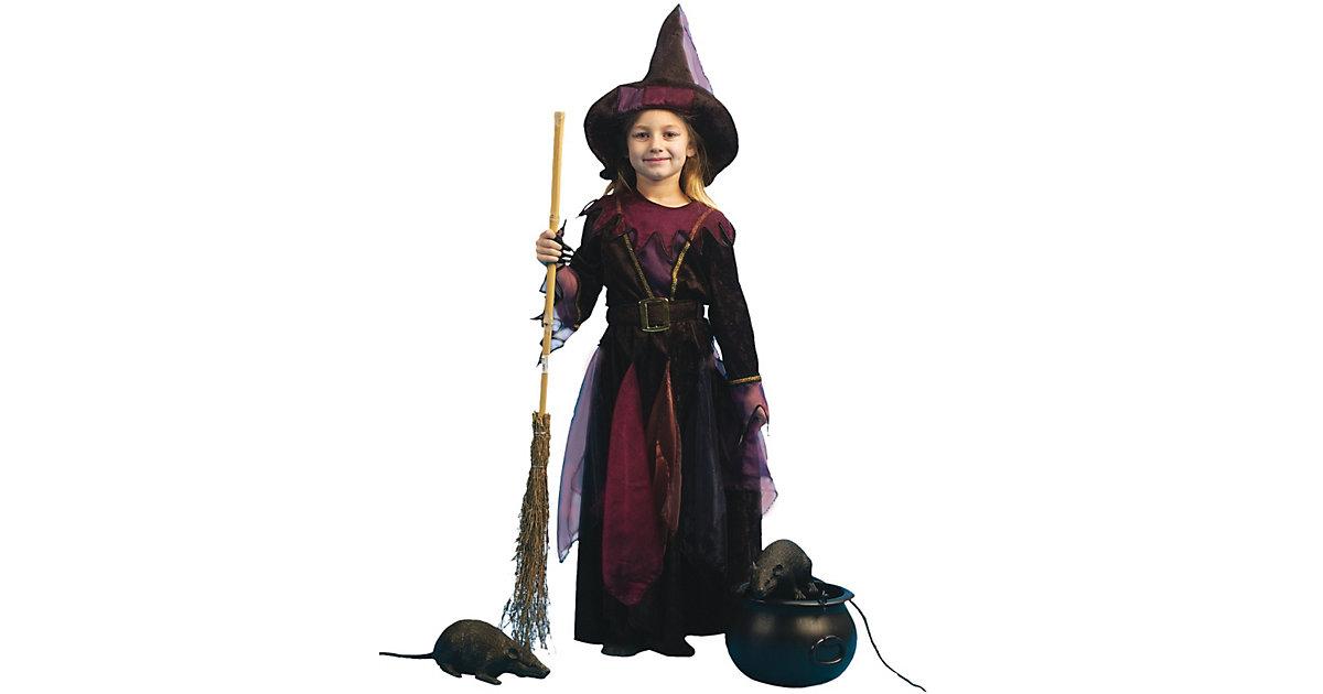 Kostüm Hexlein mit Hut und Gürtel schwarz Gr. 152 Mädchen Kinder