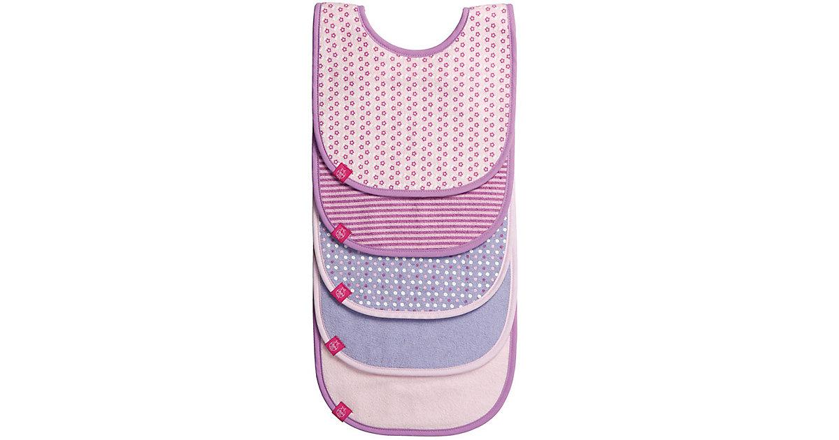 Lätzchen Pattern Girls, mit Klettverschluss, 5er Set, rosa/lila