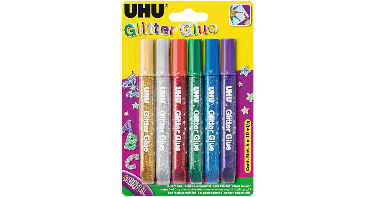 UHU Glitter Kleber dunkel, 6 Farben mehrfarbig