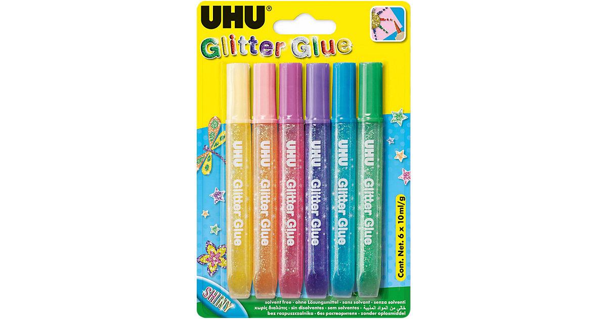 UHU Glitter Kleber hell, 6 Farben pastell