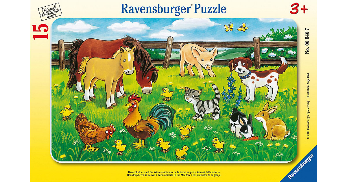 Rahmen-Puzzle, 15 Teile, 25x14,5 cm, Bauernhoftiere auf der Wiese