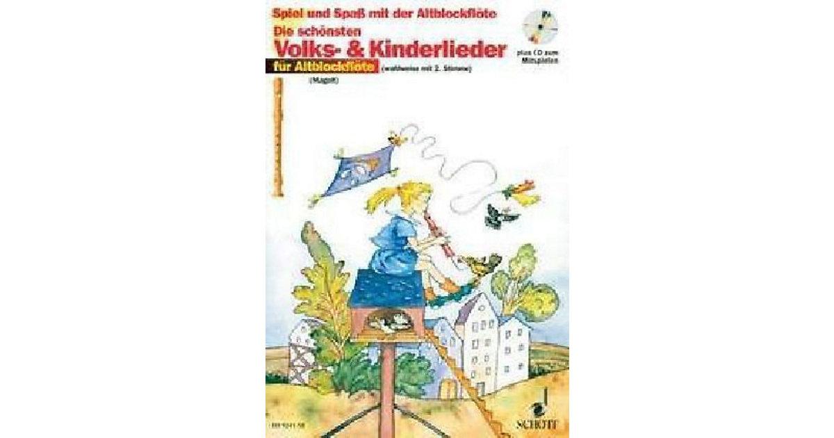 Schott Verlag · Die schönsten Volks- & Kinderlieder Altblockflöte, Notenausgabe mit Play-Along-CDs Kinder