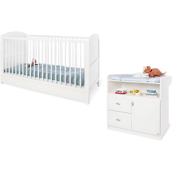 Sparset LAURA Kinderbett & Wickelkommode Weiß Pinolino