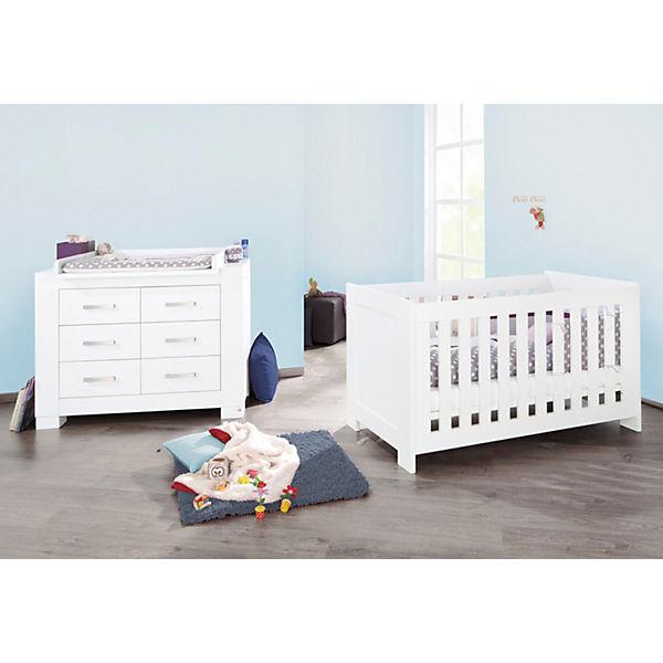 Kinderbett U0026 Breite Wickelkommode Sparset ICE, Weiß Edelmatt. Pinolino