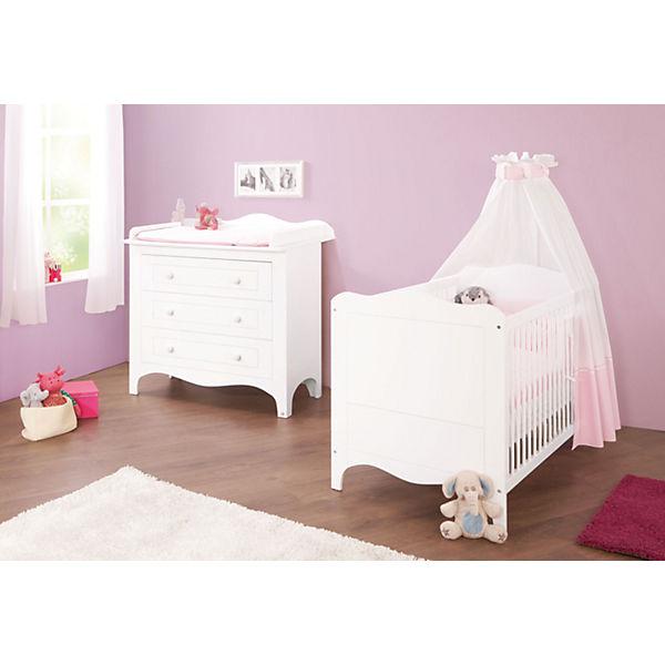 Sparset FLEUR 2 tlg Kinderbett und breite Wickelkommode weiß