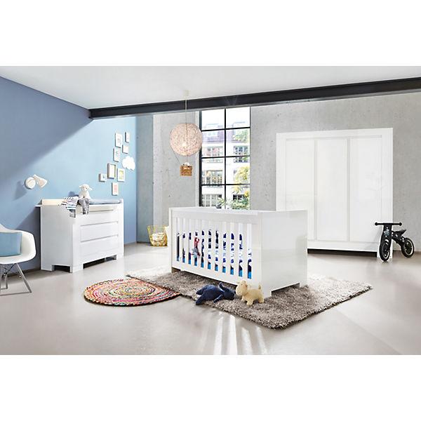 Komplett Kinderzimmer SKY groß, (Kinderbett, Wickelkommode breit und  3-türiger Kleiderschrank), Weiß/Hochglanz, Pinolino