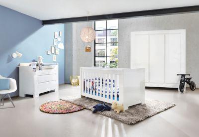 Babyzimmer weiß hochglanz  Komplett Kinderzimmer SKY groß, (Kinderbett, Wickelkommode breit ...
