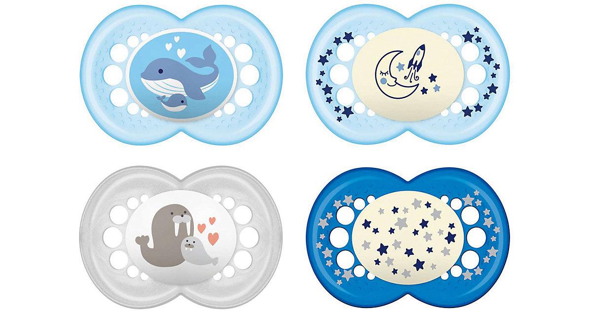 MAM · Schnuller Set Original & Night, Silikon, Gr. 3, blau, 6-tlg.