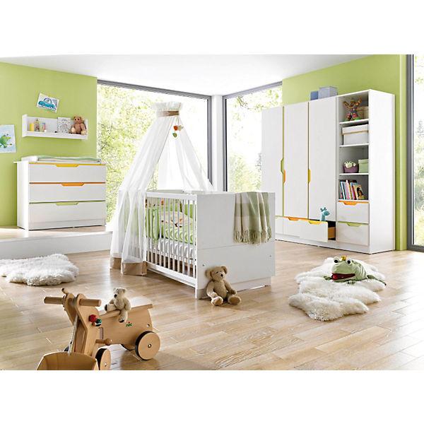 Komplett Kinderzimmer Fresh 3 Tlg Kinderbett Breite Wickelkommode Und 3 Turiger Kleiderschrank Weiss Bunt Geuther