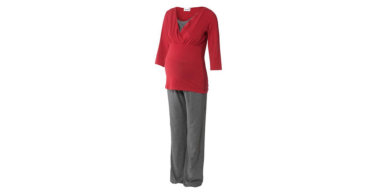 Still-Pyjama Wellness grau/rot Gr. 36 Damen Kinder
