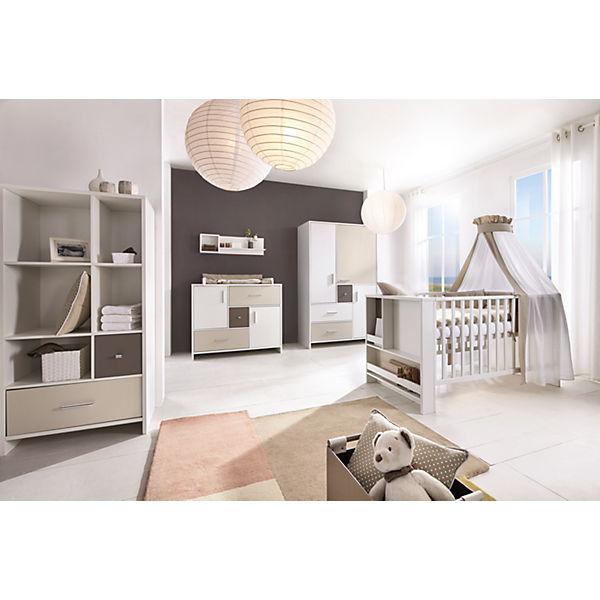 Komplett Kinderzimmer CANDY, 3-tlg. (Kinderbett, Umbauset, Wickelkommode  und 3-türiger Kleiderschrank), weiß/beige/grau, Schardt