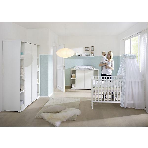Komplett Kinderzimmer MAXIMO WEIß, 3-tlg. (Kinderbett,Umbauseiten,  Wickelkommode und 2-türiger Kleiderschrank mit Seitenregalen), weiß, Schardt