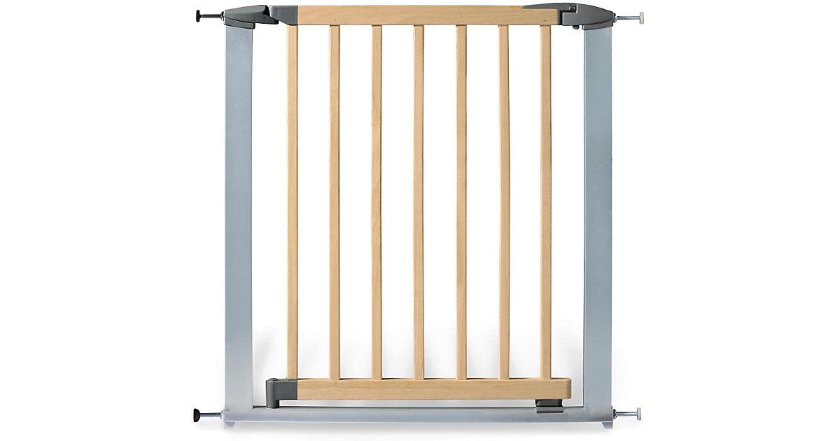 Türschutzgitter Holz/Metall Baby Lock Comfort, 73 - 82,5 cm, Buche/silberfarbig