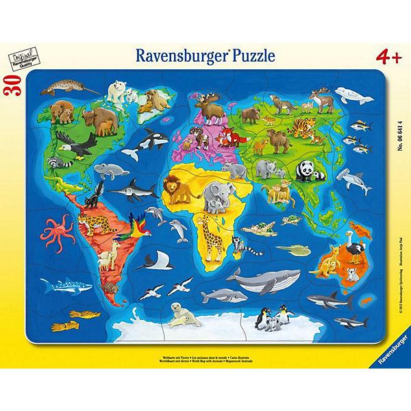Rahmenpuzzle 30 Teile - Weltkarte mit mit Weltkarte Tieren, Ravensburger 17e6de
