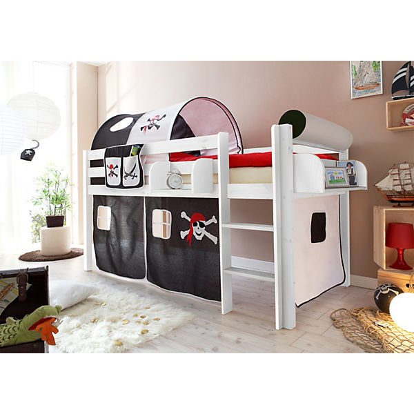 hochbett malte kiefer massiv 90 x 200 cm pirat ticaa. Black Bedroom Furniture Sets. Home Design Ideas