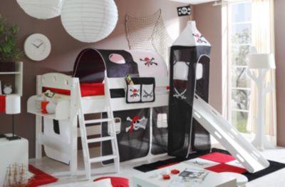 Puppen Etagenbett Mit Rutsche : Spielbett mit turm kenny kiefer massiv weiß lackiert pirat schwarz