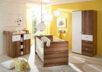 Babyzimmer Milu, 3 Tlg. (Kleiderschrank, Wickelkommode, Bett), Walnuss ...
